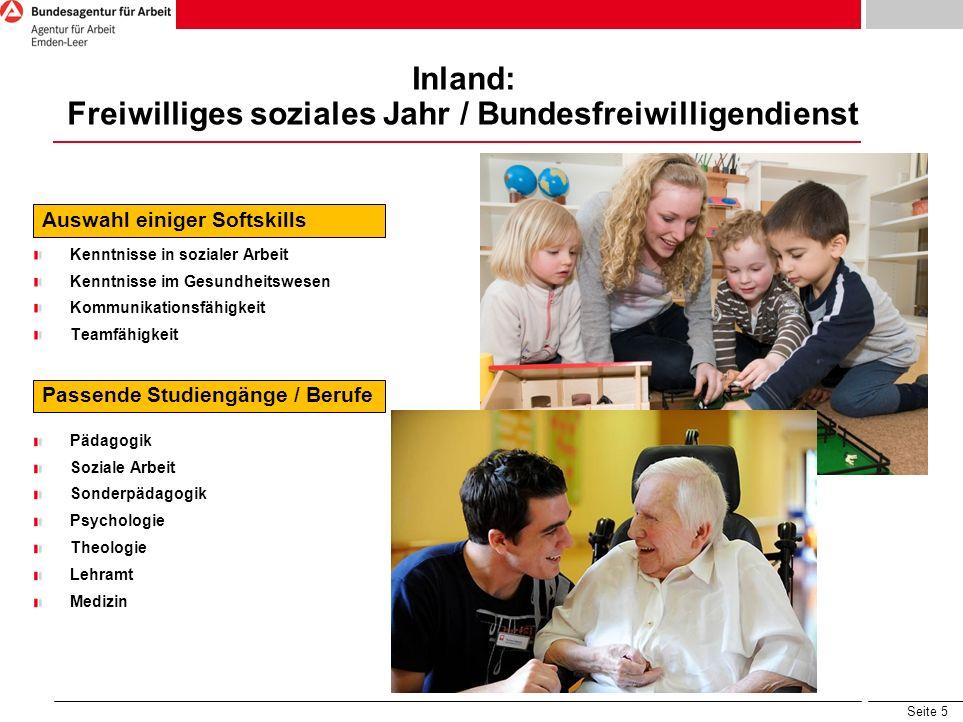 Inland: Freiwilliges soziales Jahr / Bundesfreiwilligendienst