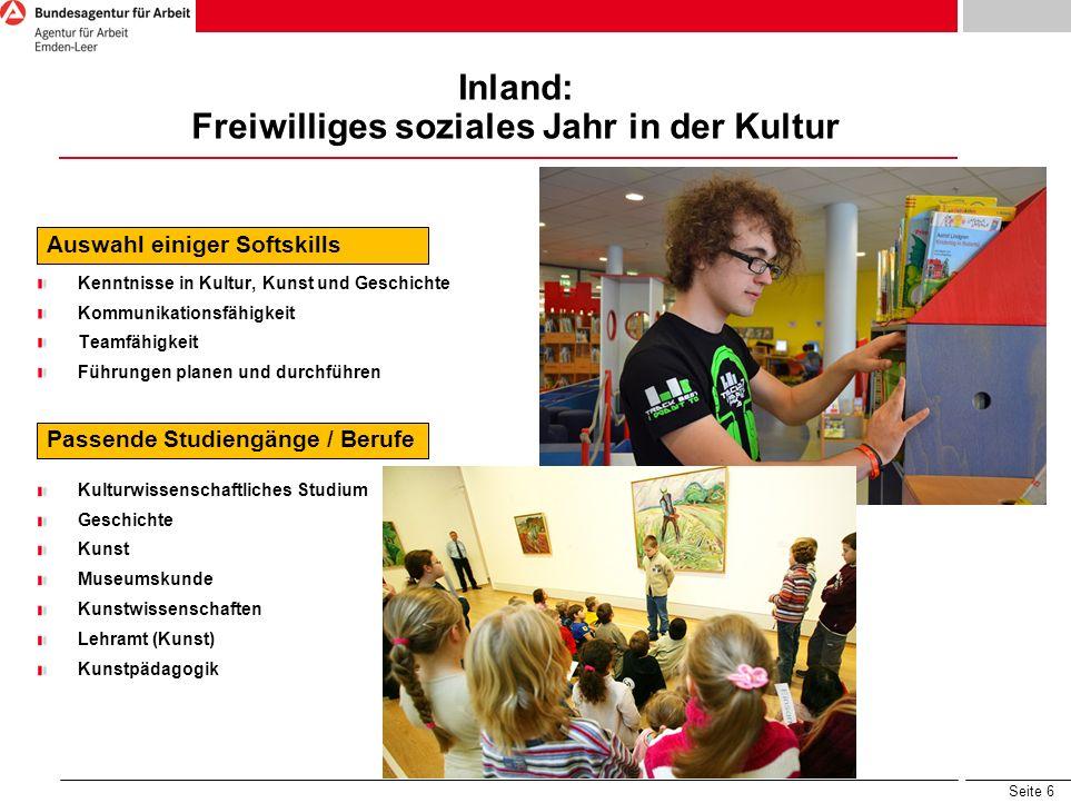 Inland: Freiwilliges soziales Jahr in der Kultur