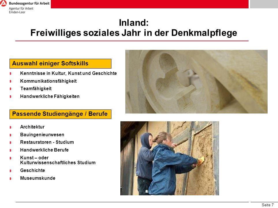 Inland: Freiwilliges soziales Jahr in der Denkmalpflege