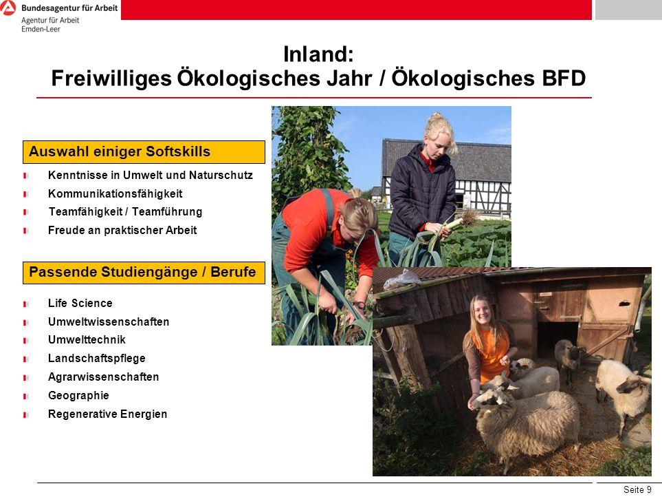 Inland: Freiwilliges Ökologisches Jahr / Ökologisches BFD