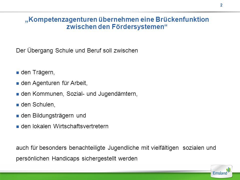 """2 """"Kompetenzagenturen übernehmen eine Brückenfunktion zwischen den Fördersystemen Der Übergang Schule und Beruf soll zwischen."""