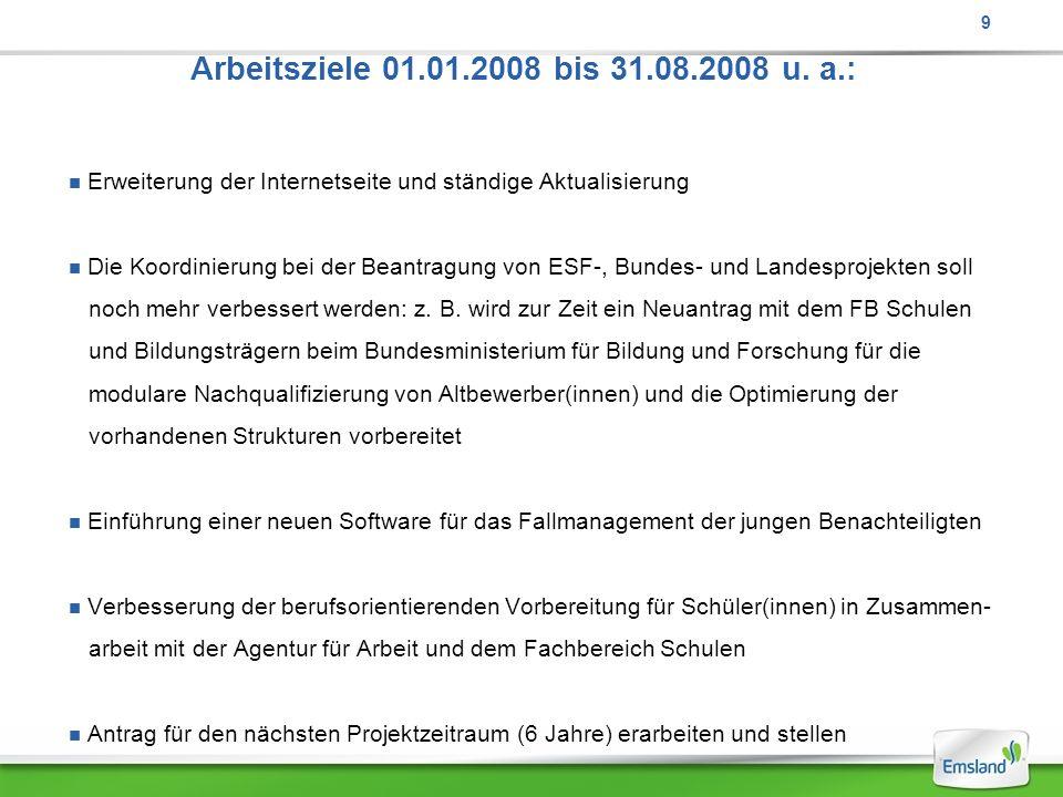9 Arbeitsziele 01.01.2008 bis 31.08.2008 u. a.: Erweiterung der Internetseite und ständige Aktualisierung.