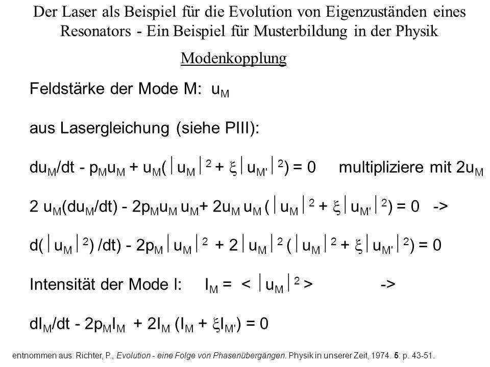 Feldstärke der Mode M: uM aus Lasergleichung (siehe PIII):