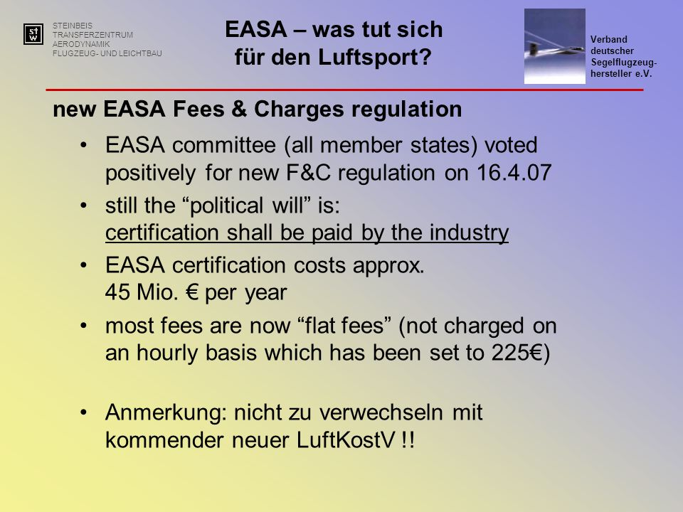 new EASA Fees & Charges regulation