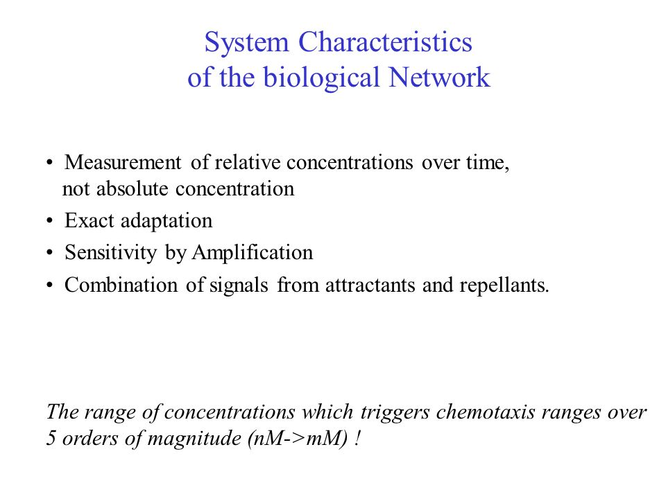 System Characteristics of the biological Network