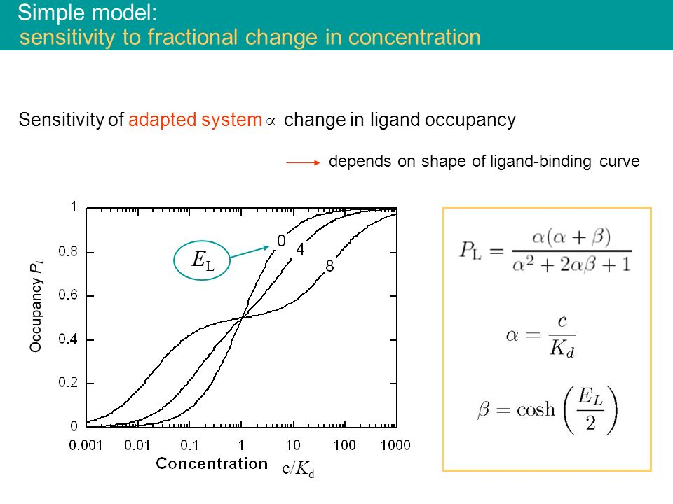 Simple model: sensitivity to fractional change in concentration