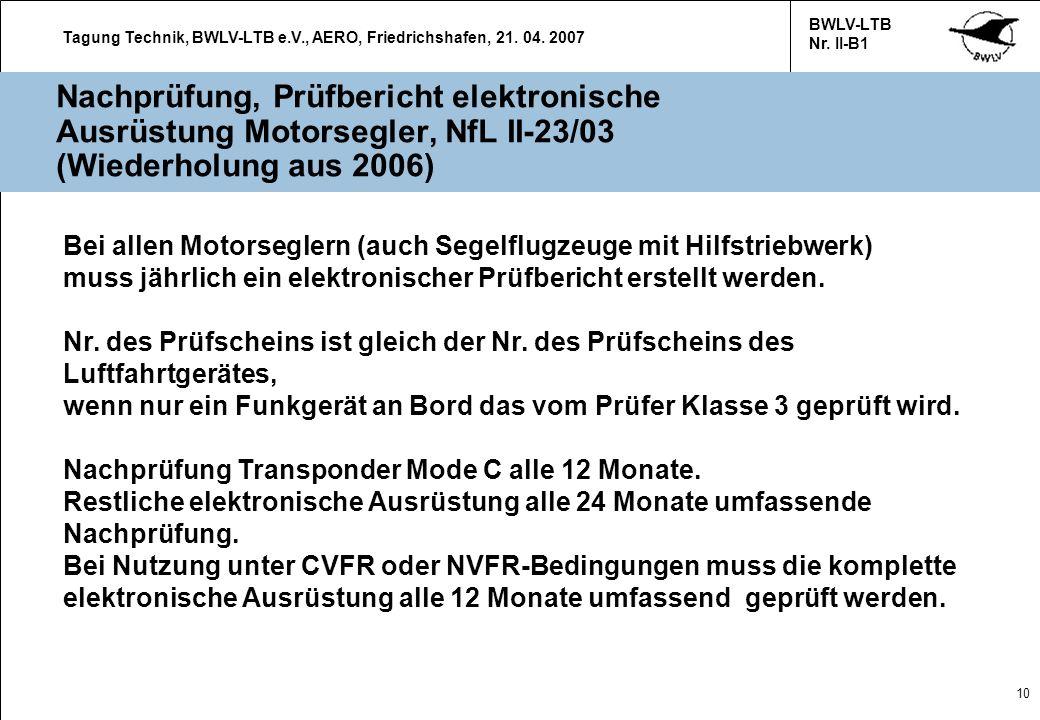 Nachprüfung, Prüfbericht elektronische Ausrüstung Motorsegler, NfL II-23/03 (Wiederholung aus 2006)