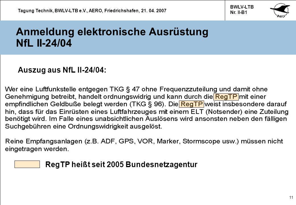 Anmeldung elektronische Ausrüstung NfL II-24/04