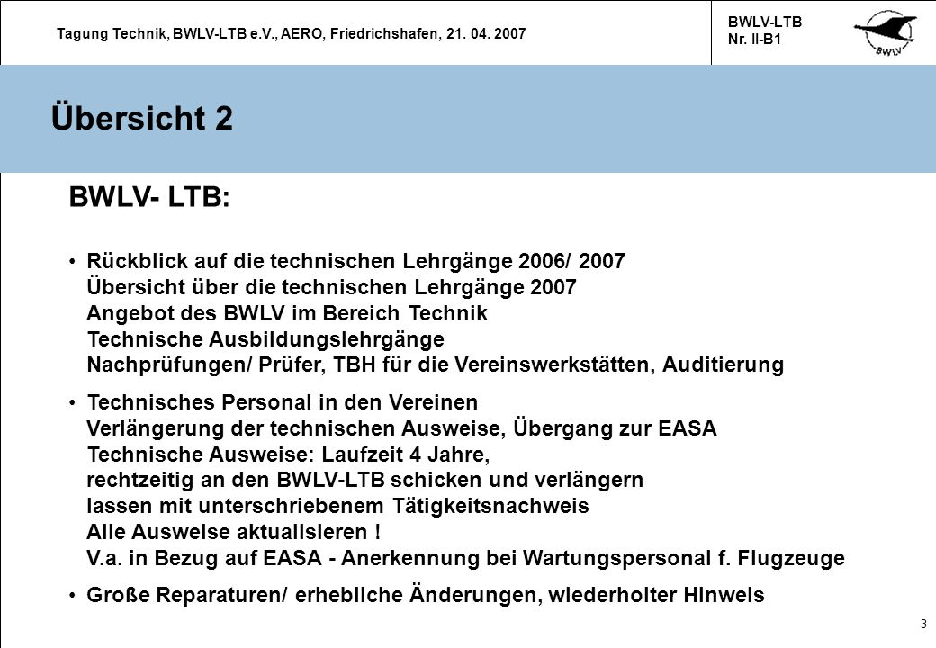 Übersicht 2 BWLV- LTB: