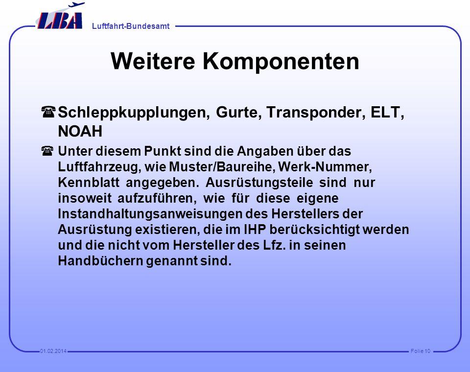 Weitere Komponenten Schleppkupplungen, Gurte, Transponder, ELT, NOAH