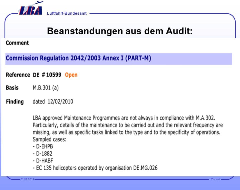 Beanstandungen aus dem Audit: