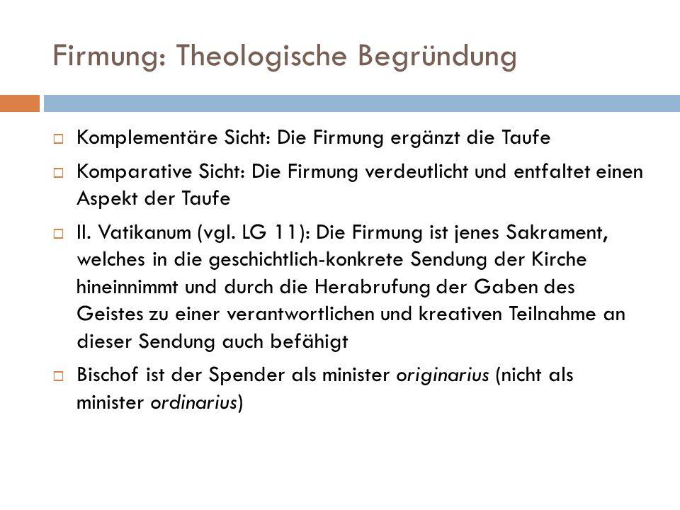 Firmung: Theologische Begründung