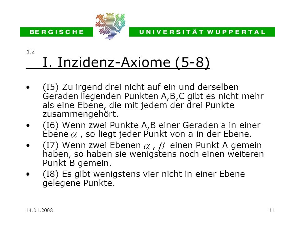 1.2 I. Inzidenz-Axiome (5-8)