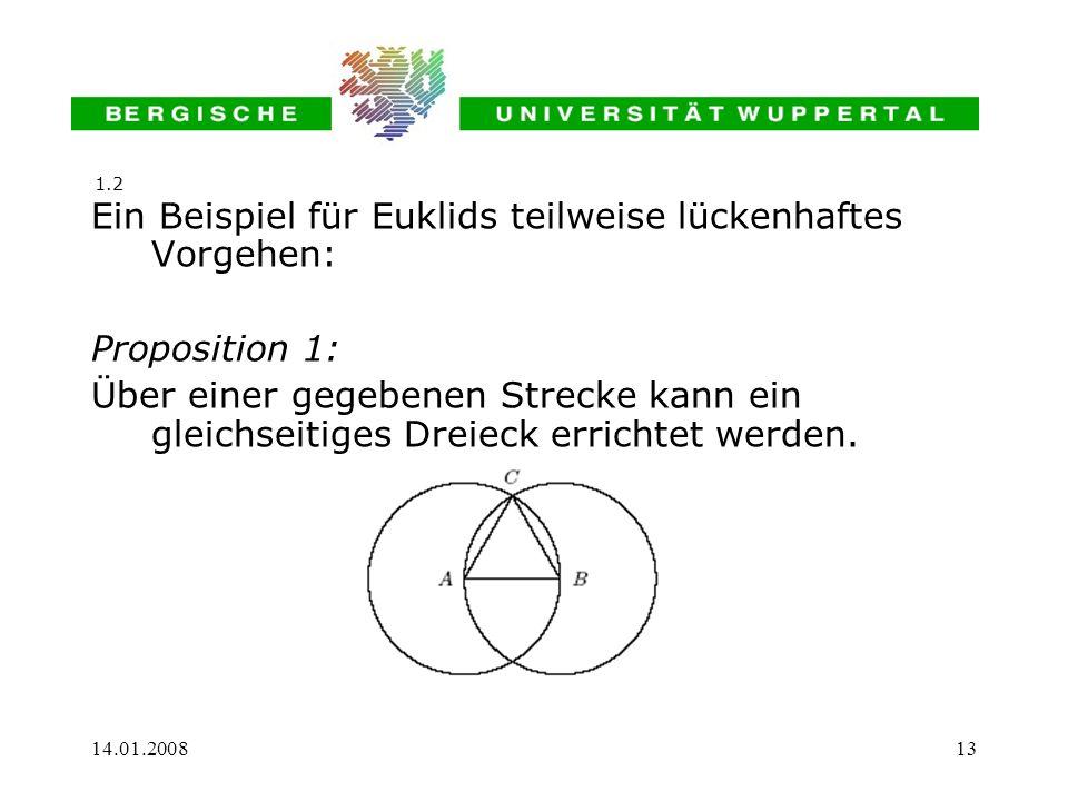 Ein Beispiel für Euklids teilweise lückenhaftes Vorgehen: