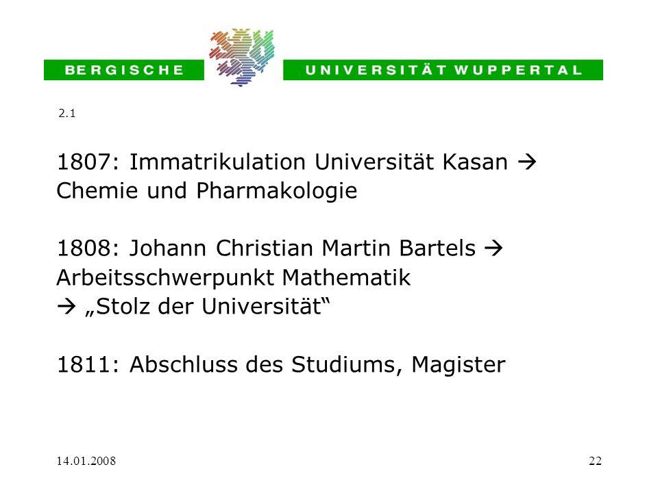 1807: Immatrikulation Universität Kasan  Chemie und Pharmakologie