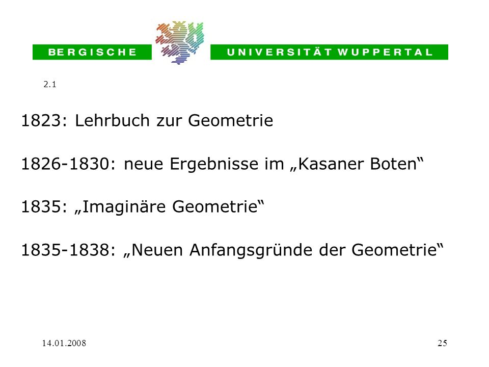 1823: Lehrbuch zur Geometrie