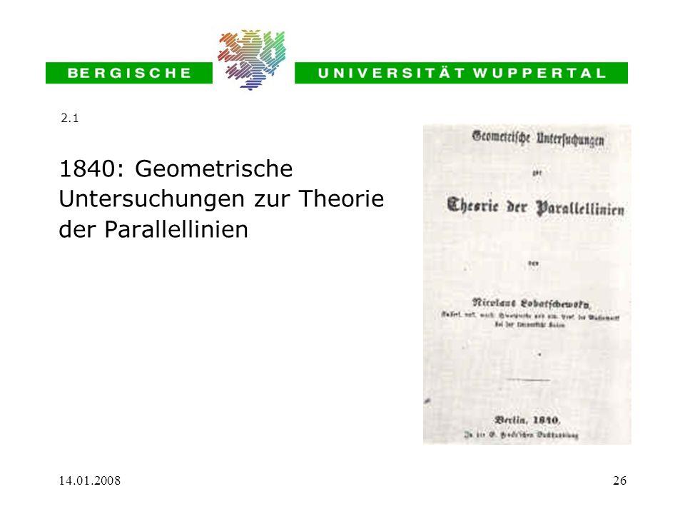 Untersuchungen zur Theorie der Parallellinien