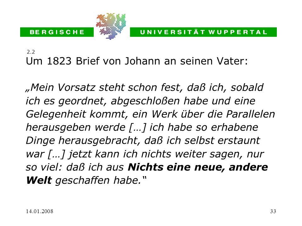 Um 1823 Brief von Johann an seinen Vater: