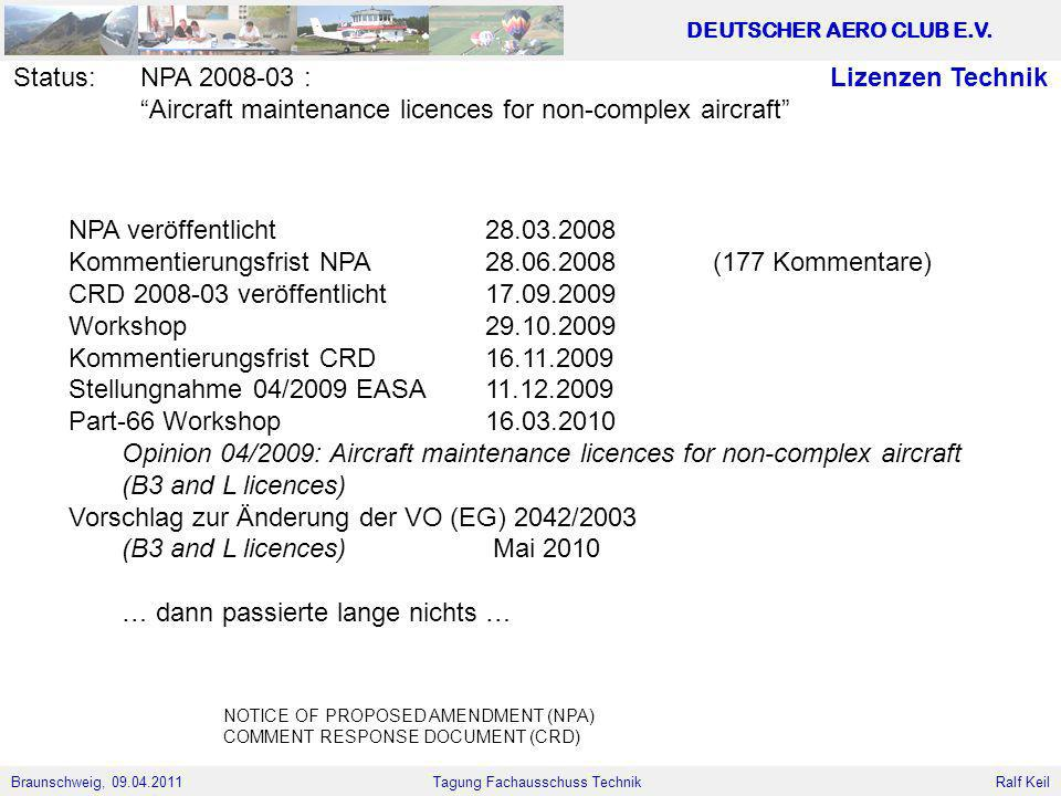 Aircraft maintenance licences for non-complex aircraft