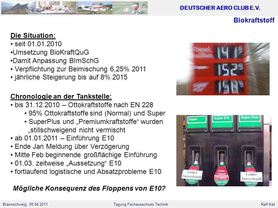 Biokraftstoff Die Situation: seit 01.01.2010. Umsetzung BioKraftQuG. Damit Anpassung BImSchG. Verpflichtung zur Beimischung 6,25% 2011.