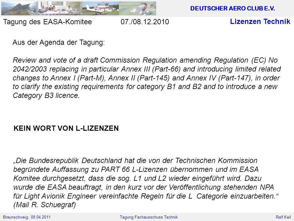 Tagung des EASA-Komitee 07./08.12.2010