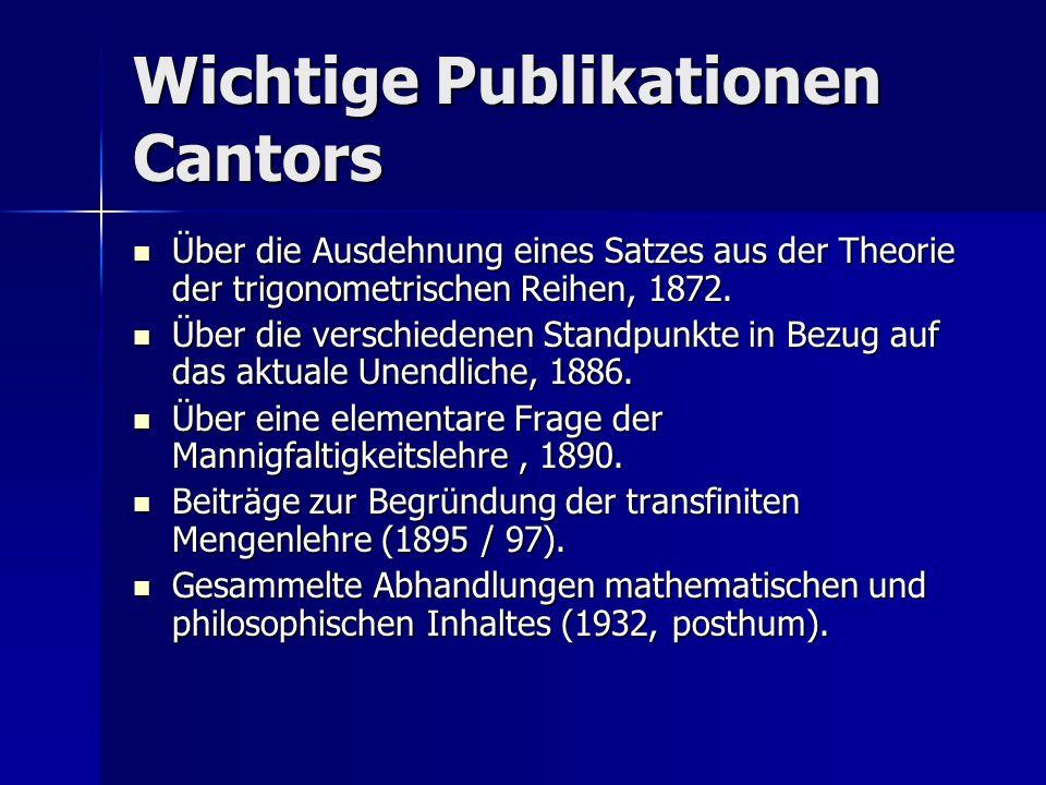 Wichtige Publikationen Cantors