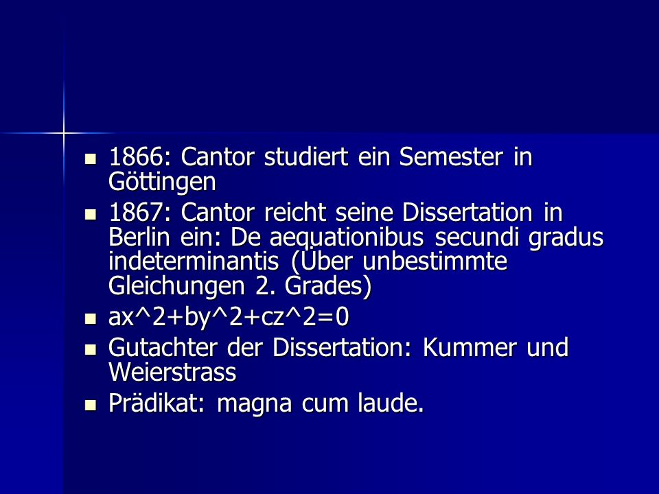 1866: Cantor studiert ein Semester in Göttingen