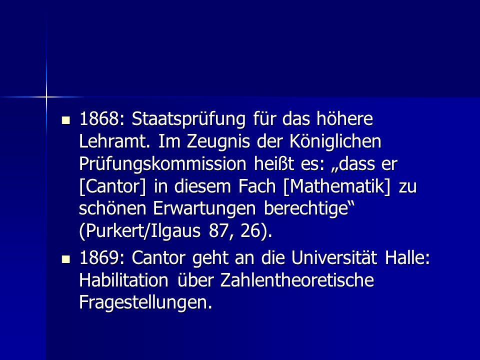 1868: Staatsprüfung für das höhere Lehramt