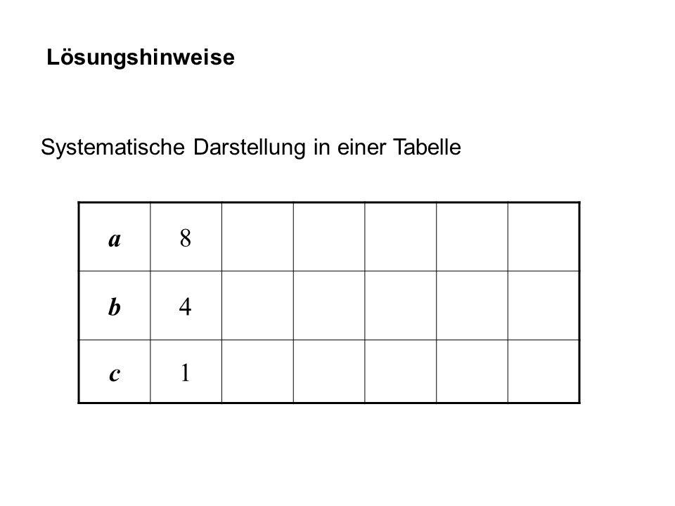 Lösungshinweise Systematische Darstellung in einer Tabelle a 8 b 4 c 1
