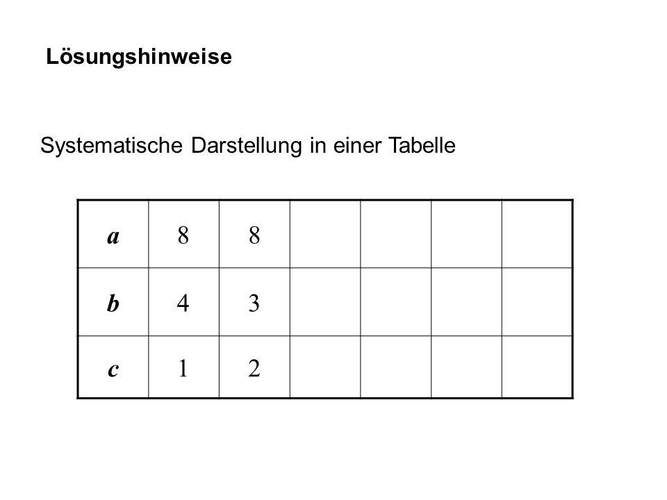 Lösungshinweise Systematische Darstellung in einer Tabelle a 8 b 4 3 c 1 2