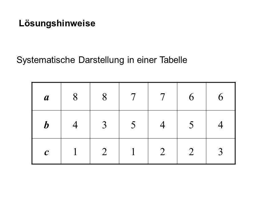 Lösungshinweise Systematische Darstellung in einer Tabelle a 8 7 6 b 4 3 5 c 1 2