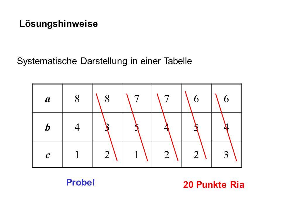 Lösungshinweise Systematische Darstellung in einer Tabelle. a. 8. 7. 6. b. 4. 3. 5. c. 1.