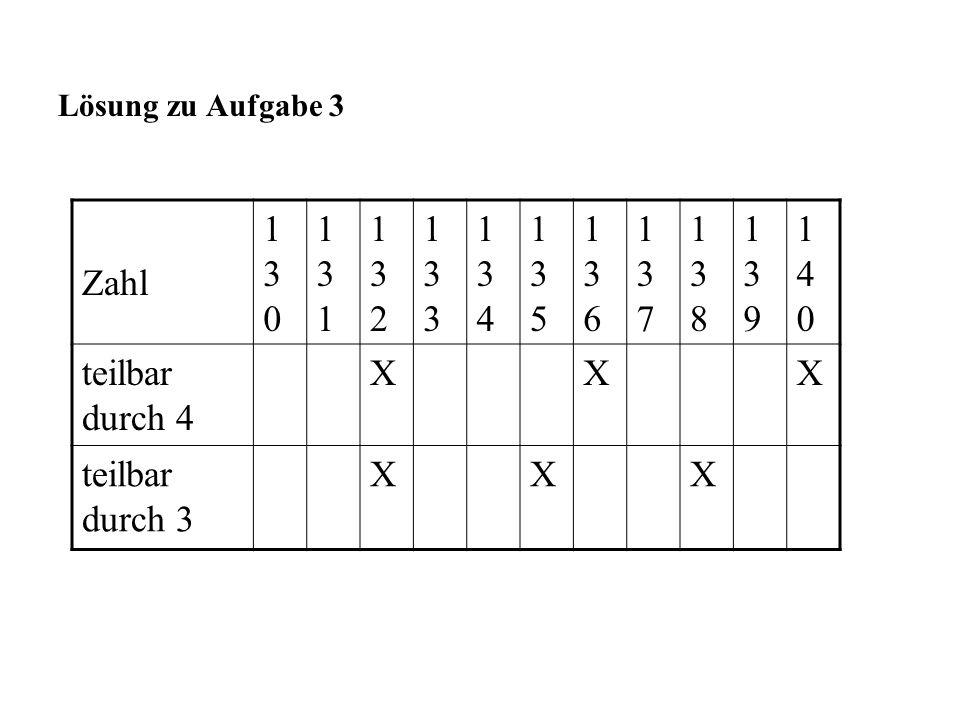 Lösung zu Aufgabe 3 Zahl. 130. 131. 132. 133. 134. 135. 136. 137. 138. 139. 140. teilbar durch 4.