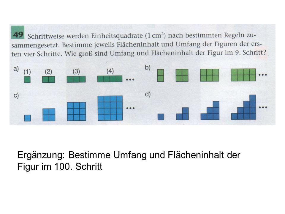 Ergänzung: Bestimme Umfang und Flächeninhalt der Figur im 100. Schritt