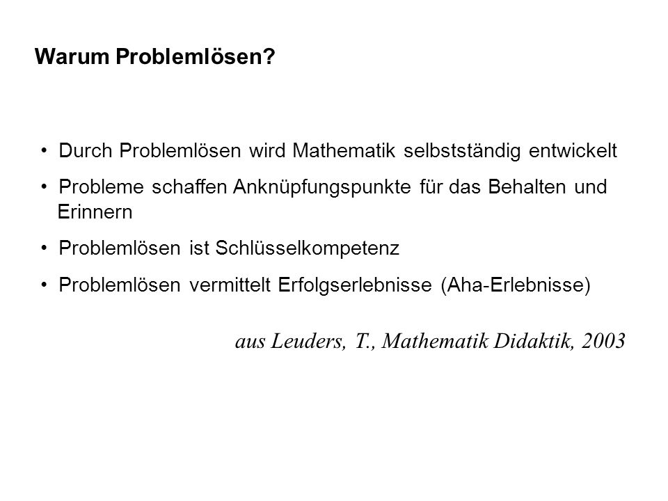 aus Leuders, T., Mathematik Didaktik, 2003