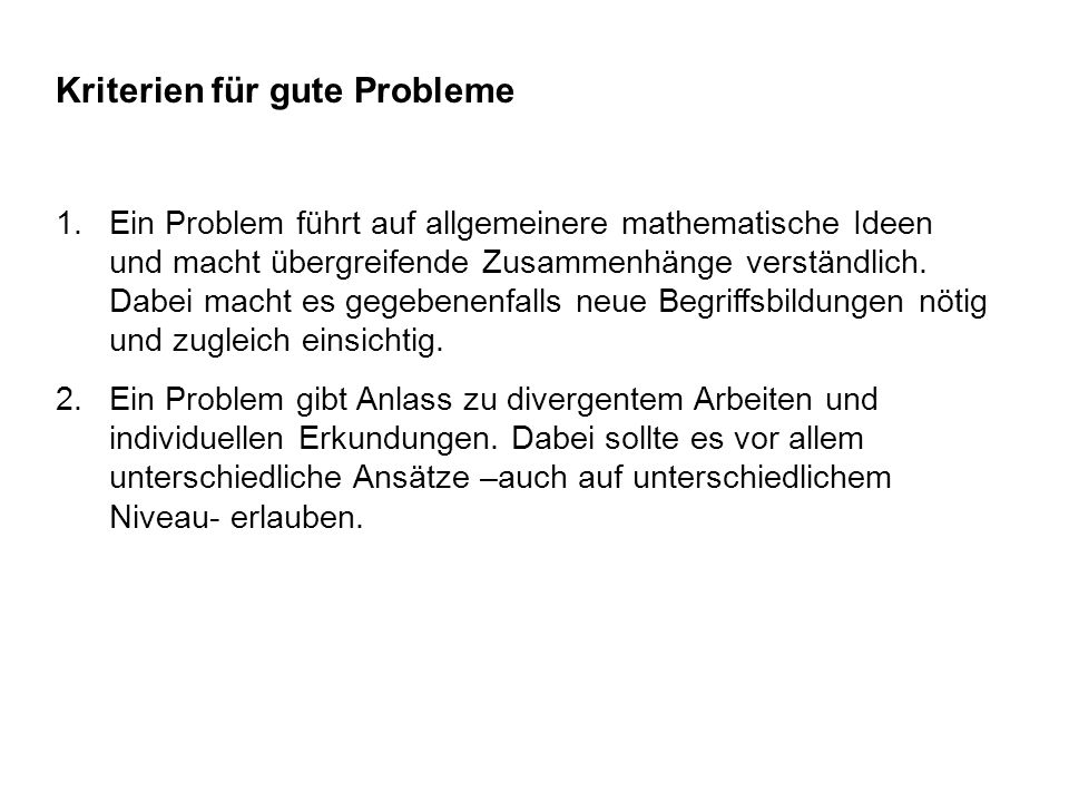 Kriterien für gute Probleme