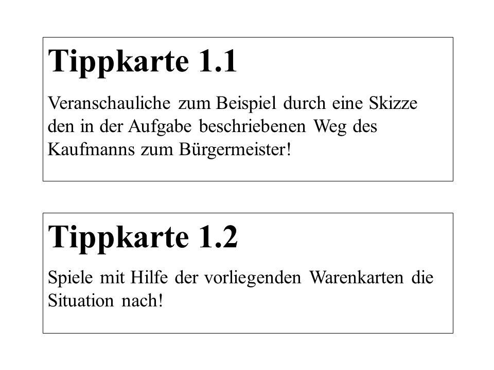Tippkarte 1.1 Veranschauliche zum Beispiel durch eine Skizze den in der Aufgabe beschriebenen Weg des Kaufmanns zum Bürgermeister!