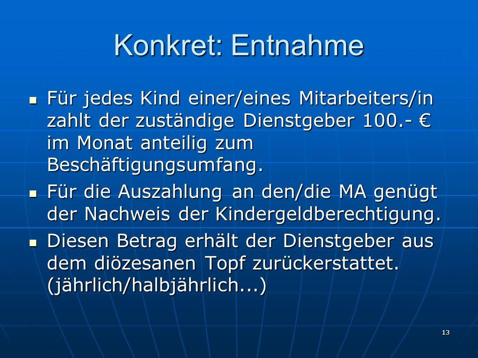 Konkret: Entnahme Für jedes Kind einer/eines Mitarbeiters/in zahlt der zuständige Dienstgeber 100.- € im Monat anteilig zum Beschäftigungsumfang.