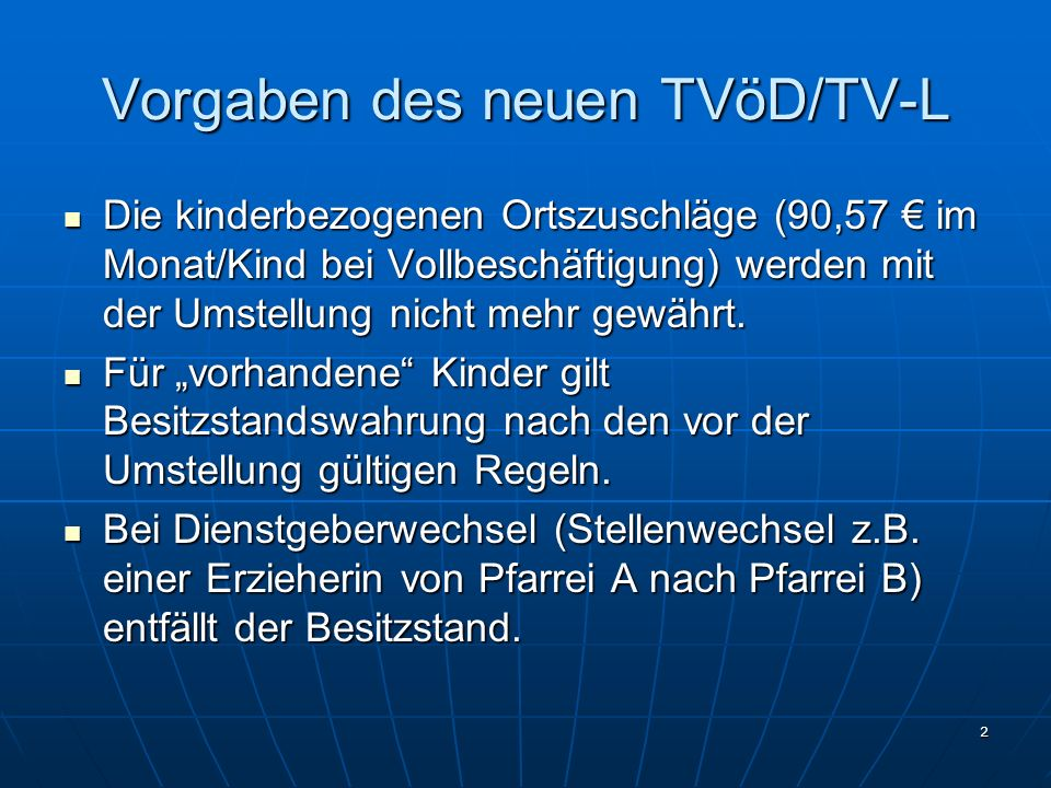 Vorgaben des neuen TVöD/TV-L