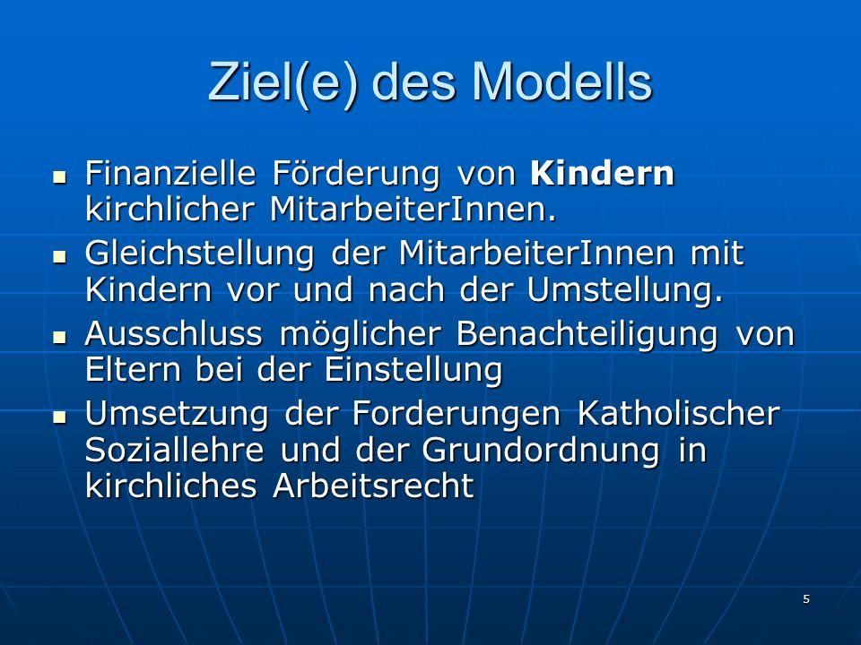 Ziel(e) des Modells Finanzielle Förderung von Kindern kirchlicher MitarbeiterInnen.