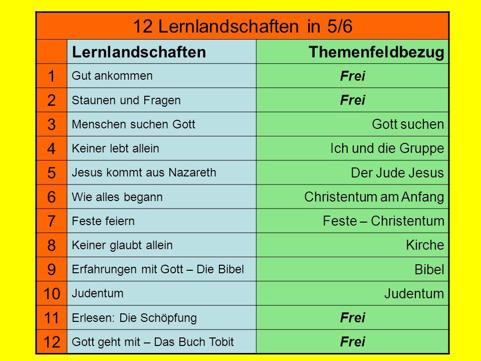 12 Lernlandschaften in 5/6 Lernlandschaften Themenfeldbezug 1 2 3 4 5