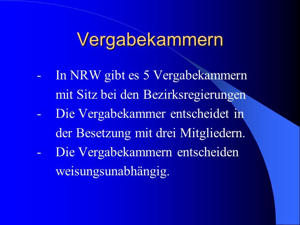 Vergabekammern - In NRW gibt es 5 Vergabekammern