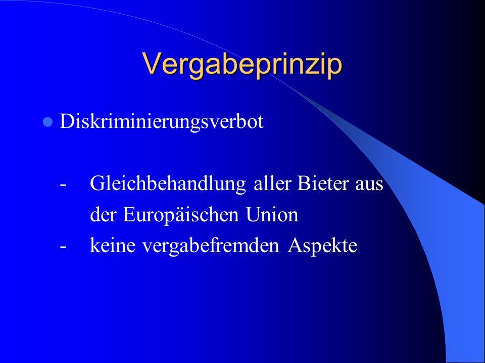 Vergabeprinzip Diskriminierungsverbot