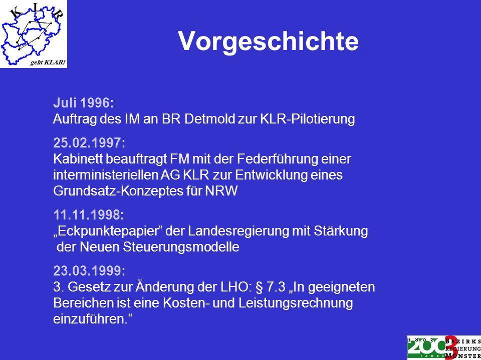 Vorgeschichte Juli 1996: Auftrag des IM an BR Detmold zur KLR-Pilotierung.