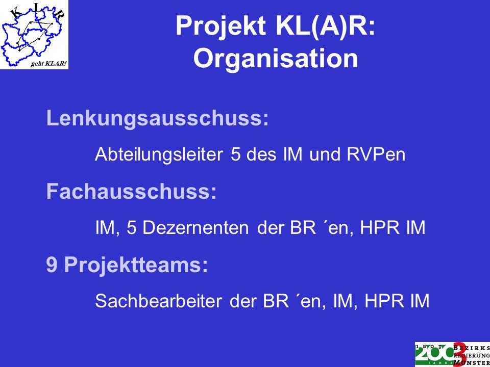 Projekt KL(A)R: Organisation