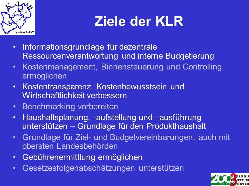 Ziele der KLR Informationsgrundlage für dezentrale Ressourcenverantwortung und interne Budgetierung.