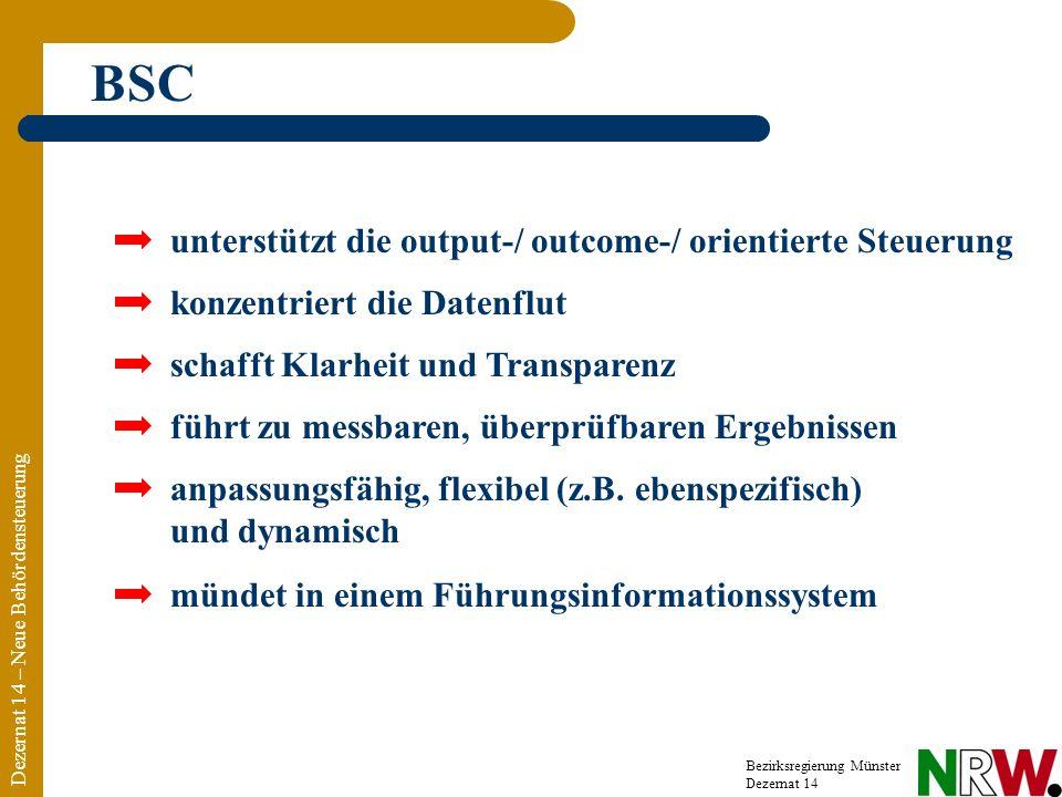 BSC unterstützt die output-/ outcome-/ orientierte Steuerung