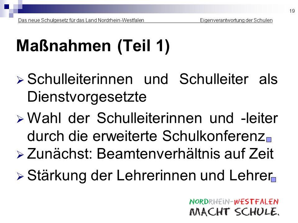 19 Das neue Schulgesetz für das Land Nordrhein-Westfalen _____________ Eigenverantwortung der Schulen.