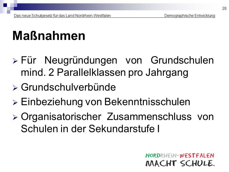 28 Das neue Schulgesetz für das Land Nordrhein-Westfalen _____________ Demographische Entwicklung.