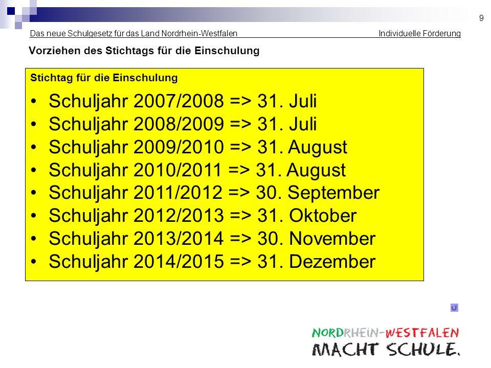 Schuljahr 2009/2010 => 31. August